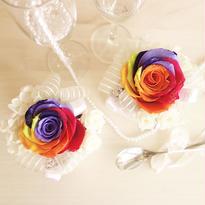"""RAINBOW ROSE  """"IRIS"""" ☆特別な一輪を贈る☆宝石のようなバラのミニアレンジ"""