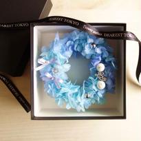"DT's Wedding ""AMARRAR""(BLUE)小さなリース型リングピロー"