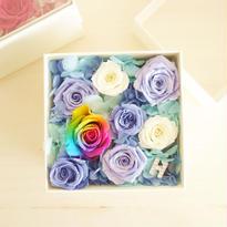"""LUXURY BOX """"ecrin BLUE bijou"""" イニシャル入り☆レインボーローズのフラワーボックス"""