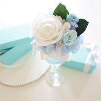"""NATURAL """"Tiffany blue"""" ティファニーブルーのワイングラスアレンジ"""