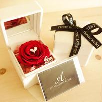 """DIAMOND ROSE  """"bright red"""" 赤いバラ×ダイヤモンドのアクセサリーケース"""