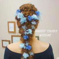 "DT's Wedding  ""something blue"" あじさいとカスミソウのヘッドアクセサリー"