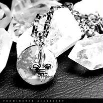 【天然石 | 六芒星・ヘキサグラム・マグネサイト(ハウライト)・百合紋章・シルバー925・ペンダント】守護・疲労回復・精神安定・パワーストーン