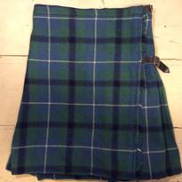 [USED]グリーンチェック  プリーツミニ巻きスカート