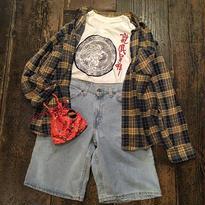 [USED] ネイビー×イエローチェックネルシャツ