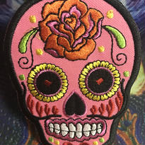 Pink skull  iron on patch