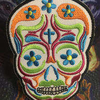 White  Psychedelic skull iron on patch