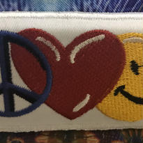Peace, heart and smiley iron on patch
