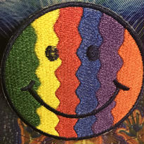Wavey stripes smiley face iron on patch