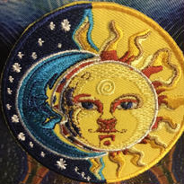 Moon and sun iron on patch