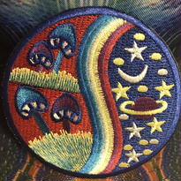 Mushrooms and planets iron on patch