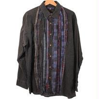 Rebuild By Needles (リビルドバイニードルズ) Ribbon Flannel Shirt INDIGO ×GREEN - size M -