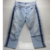 Sunny side up (サニーサイドアップ) ユーズドリメイク SIDE LINE DENIM PANTS BLUE type 4 - size 3 -