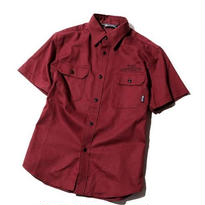 S/S TWILL WORK SHIRT BURGUNDY CR-16S044