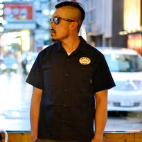 CUTRATE S/S EMBROIDERY WORK SHIRT NAVY CR-16S051