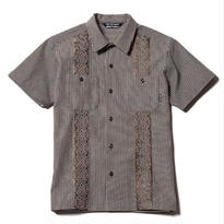CUT RATE  S/S HICKORY GUAYABERA SHIRT  BROWN CR-17SS042