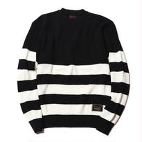 CUTRATE CREW NECK BORDER KNIT SWEATER BLACK&WHITE CR-16ST069
