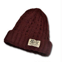 HARDEE CABLE KNIT CAP BURGUNDY