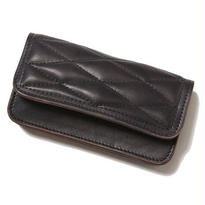 CUT RTAE QUILTING LEATHER LONG WALLET BLACK