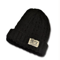 HARDEE CABLE KNIT CAP BALACK