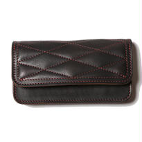 QUILTING LEATHER LONG WALLET BLACK[CR-15AW047]