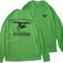 IGNITION SKATESHOP x ANTI HERO 18 SUPPORT L/S TEE HESHDAWGZ 限定カラー! LIME