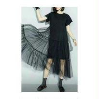 [セクシーにもカジュアルにも]マキシ丈チュールワンピース 半袖 チュールレース 白ホワイト 黒ブラック Koreaファッション