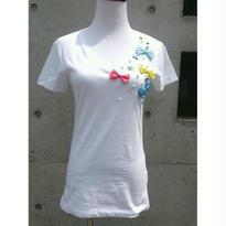 [リボントキラキラ]RINASCIMENTOリナシメント 半袖Tシャツ リボン ビジュー パール 白ホワイト×ピンク×ブルー×黄色イエロー イタリア製 MADEINITALY