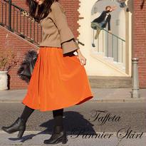 [さりげないふんわり感!]ユメリボンYumeribon タフタパニエスカート オレンジ ネイビー紺 黒ブラック ミモレ丈  ひざ丈  フレア 大人かわいい