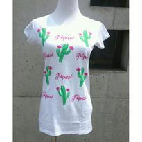 [トロピカル]RINASCIMENTOリナシメント 半袖Tシャツ サボテン 白ホワイト×グリーン イタリア製 MADEINITALY