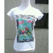 [フラミンゴとゼブラ]RINASCIMENTOリナシメント 半袖Tシャツ フラミンゴ ゼブラ ビジュー 白ホワイト イタリア製 MADEINITALY