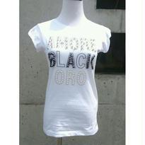 [キラキラ!]RINASCIMENTOリナシメント 半袖Tシャツ AMOREBLACKORO 白ホワイト×黒ブラック イタリア製 MADEINITALY
