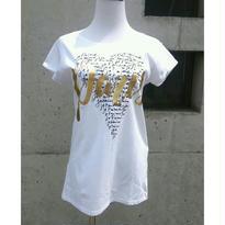 [クールなデザイン!]RINASCIMENTOリナシメント 半袖Tシャツ ハート 英字 PARIS 白ホワイト×ゴールド×黒ブラック イタリア製 MADEINITALY