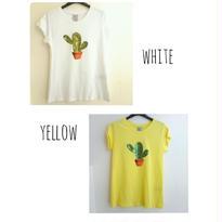 [サボテンをポイントに!]RINASCIMENTOリナシメント 半袖Tシャツ サボテン スパンコール 白ホワイト×グリーン 黄色イエロー イタリア製 MADEINITALY