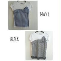 [リボンとレース]RINASCIMENTOリナシメント 半袖Tシャツ ストライプ 白ホワイト ネイビー紺 ブラック黒 イタリア製 MADEINITALY