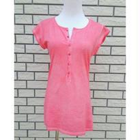 [さりげなくお洒落]RINASCIMENTOリナシメント 半袖Tシャツ ヘンリーネック 無地 ムラ染め ピンク イタリア製 MADEINITALY