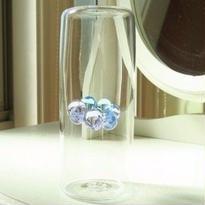 海藤博、吹きガラス・花挿し(オブジェ)一点もの、水色&薄紫