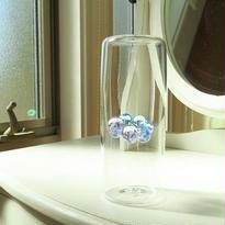吹きガラス・花瓶(オブジェ)一点もの、 海藤博、水色&薄紫