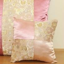 Bi's Original 新作・金襴市松ミニクッション『梅の舞』ピンク、クッション入り