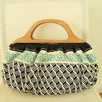 手織物 ハンドバッグ   Emelin(黒×水色)、trois temps