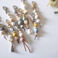 Wood beads Key ring  // RUNI