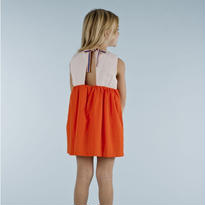color block wv dress  (red × pale pink) // tinycottons