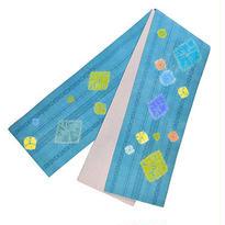 【店主創作】絞り半巾帯  青緑