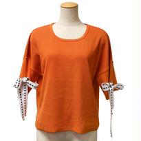 ハトメリボン袖ニットプルオーバー(オレンジ)