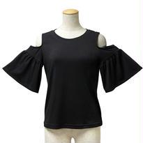 肩あき袖フリルカットソー(ブラック)