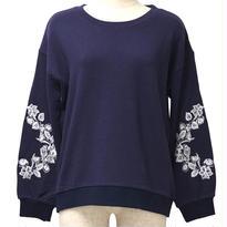 袖刺繍スウェット(ネイビー)