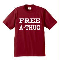 """FREE A-THUG"" S/S TEE BURGUNDY"