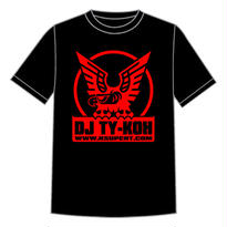 【4月上旬再入荷予定】DJ TY-KOH LOGO TEE BLACK with STICKER