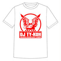【4月上旬再入荷予定】DJ TY-KOH LOGO TEE WHITE with STICKER