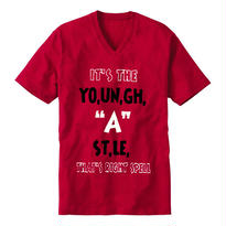 """【20%OFF】YOUNG HASTLE """"SPELL MY NAME RIGHT"""" V-NECK TEE RED/BLACK/WHITE"""